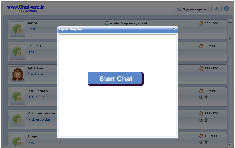 Social media chat rooms